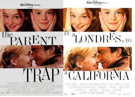Portada de la película original y la traducción española de la película tú a Londres y yo a California con Lindsay Lohan